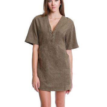 Untamed Heart Lace Up Suede Dress - Olive