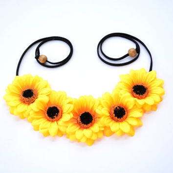 Sunflower Flower Headband Floral Crown Yellow Flower Crown Floral Headpiece Hippie Fashion Festival Accessory Hippie Halo Bohemian