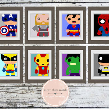 Avengers Superhero Nursery Prints Set of 8 8x10 Wall Decor SALE Marvel DC Comics