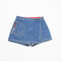 TOMMY HILFIGER Skort 90s Denim Skort Vintage High Waist Jean Shorts Denim Mini Skirt Wrap Front Sporty Embroidered Denim Shorts (S)