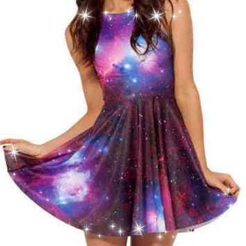 Galaxy One Sized Regulart Shirt Dress (Alternative, PastelGoth, Gothic)