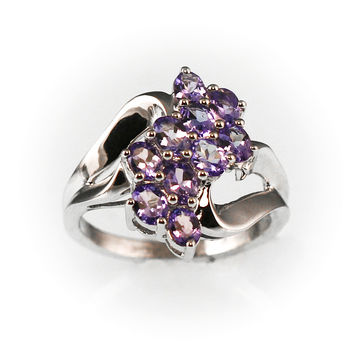Genuine Tanzanite Cluster Ring Sterling Silver