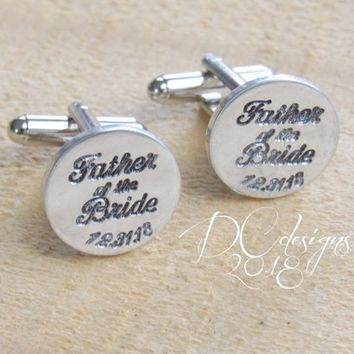 Cuff Links, Custom Cufflinks, Wedding Cufflinks, Father of the Bride, Dad Gifts, Personalized Cuff Links, Wedding Gift, Father of the Groom