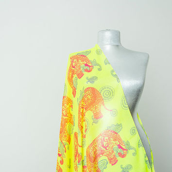Elephant Scarf Elephant Print Scarf Elephant Pareo Boho Scarf Neon Yellow Scarf  Women's Accessories Gift for Her Fashion Accessories