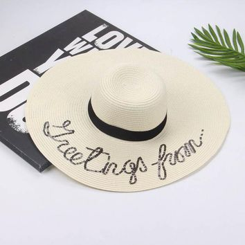 fashion Summer Large Brim Sun Hat For Women Fashion Sequins Letter do not disturb Embroidery Folded Floppy Hat Bohemia Beach Cap