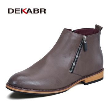 DEKABR Men Boots Comfortable Black Winter Warm Waterproof Fashion Ankle Boots