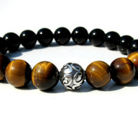 Tiger Eye and Onyx Bracelet, Mens Gemstone Bracelet, Stretch Bracelet, Silver Bracelet, Handmade Bracelet