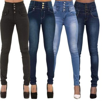 Fashion Women Denim Skinny Jeggings Pants High Waist Stretch Jeans Slim Pencil Trousers