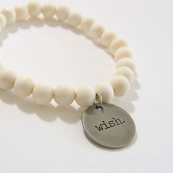 "White Wooden Bead Bracelet ~ 8 mm Beads ~ 3/4"" Antiqued Silver Metal Stamped Tag ~ Wish Love Adore Heart xoxo Peace ~ Stretch, custom sizing"