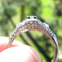 Intricate Engagement Ring, Fiery European Cut Diamond, Fancy Filigree, 18K and 14K White Gold, Edwardian to Art Deco