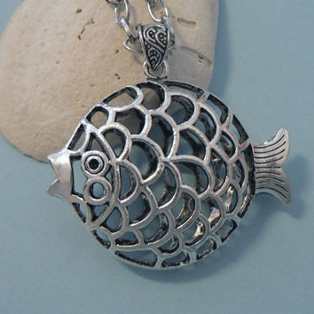 Large Nautical Puffy Fish Necklace  Summer Jewelry Filigree Pendant  with Long Chain Statement Necklace