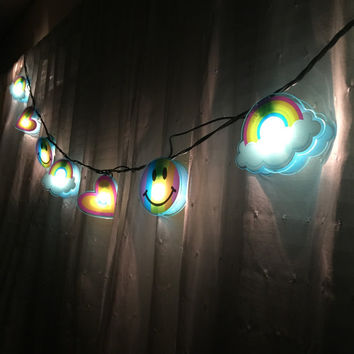 Lisa Frank String Lights // Bedroom Lighting // Rainbows, Smiley Faces, Hearts // Cyber Decor