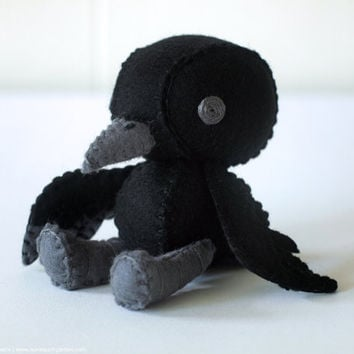 Crow Plush Art Doll, Kuro