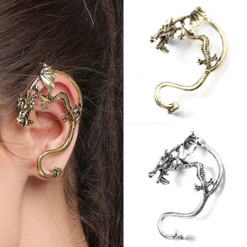 New Fashion Unisex Punk Style 1pc Animal Shape Zinc Alloy Casual Club Ear Wrap Cuff Earrings Stud