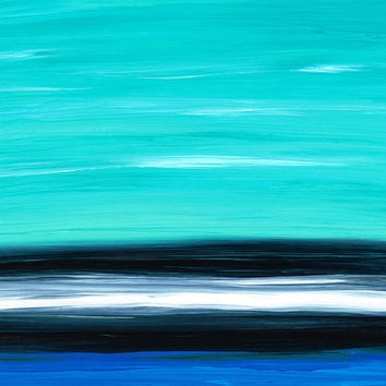 Aqua Sky Abstract Landscape Modern Art Black White Large Canvas Huge Ready To Hang Sharon Cummings Artwork