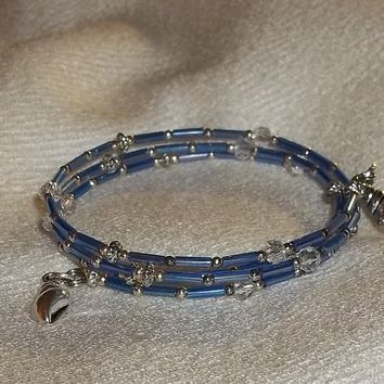 Conch Shell Blue Bugle Bead & Clear Swarovski Crystal Silver Wrap Bracelet