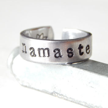 Namaste  - Yoga Aluminium Cuff Ring - Hand Stamped - Custom Made Cuff Ring