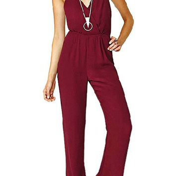 Wine Red Backless Jumpsuit