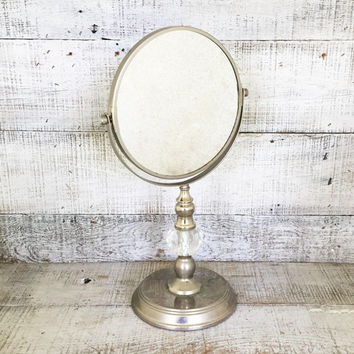 Mirror Vintage Vanity Dresser Top Hollywood Regency Shaving Magnifier Tilting Mid Century
