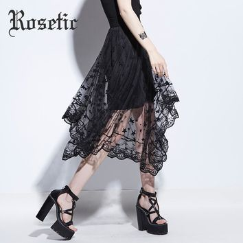 Gothic Asymmetrical Skirt Black Summer Women Mesh Patchwork Star Hollow Skirt Sexy Young Fashion Party Gothic Maxi Skirt