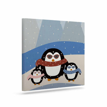 "Cristina bianco Design ""Cute Penguins"" Black Illustration Canvas Art"