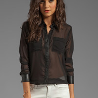 Capulet Leather Contrast Shirt in Black from REVOLVEclothing.com