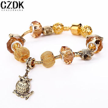 AA-41 Gold Starfish Owl Pandant Crystal Beads Bracelet European Style Cuff Bracelets Jewelry For Valentine's Day