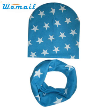 Womail Newly Design Cute Kids Baby Hat Set Casual Star Printed Slouchy Beanies Skullies+O Ring Scarf  161011 Drop Shipping