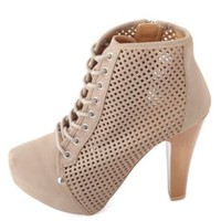Qupid Perforated Lace-Up Platform Booties by Charlotte Russe - Taupe