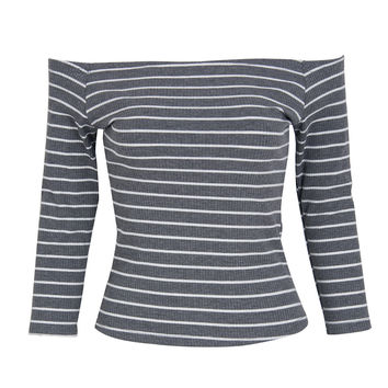 Gray Off Shoulder 3/4 Sleeve Stripe Print Tight T-shirt