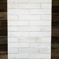 Pale Gray White-Washed Faux Brick Wallpaper