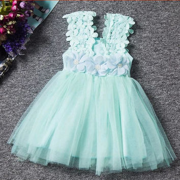 1 Princess Sleeveless Floral and Tulle Dress-2T-6 Years Old