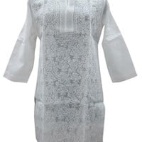 White Tunic Floral Embroidered Round Necked Kurti Cotton