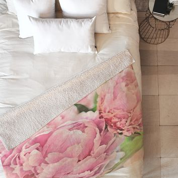 Lisa Argyropoulos Pink Peonies Fleece Throw Blanket