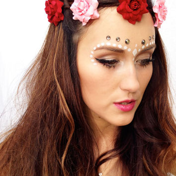 Custom Flower Crown Pastel Floral Headpiece Boho Flower Halo Lana Del Rey Flower Headband Hipster Tumblr Fashion