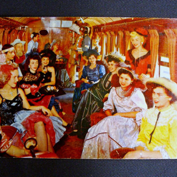 Vintage Show Girls Postcard Parlor Car of Ghost Town & Calico Railroad