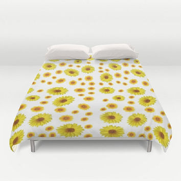 Sunflower Duvet Cover Floral Duvet Cover Flower Duvet Cover Yellow Duvet Cover Sunny Duvet Cover Floral Bedding Sunflower Bedding Bed of Sun