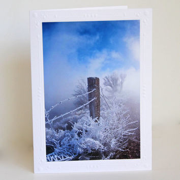 Fencepost in Snow Photo Greeting Card, Blank White Notecard, Fine Art Photography, Frozen Barbed Wire, Atmospheric Image, Winter Scene