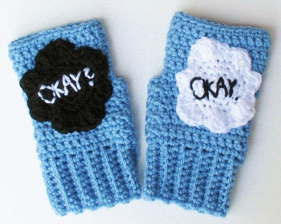The Fault in Our Stars Okay Wristwarmers, Fingerless Texting Gloves, Mitts, TFIOS Handwarmers, Ready to Ship