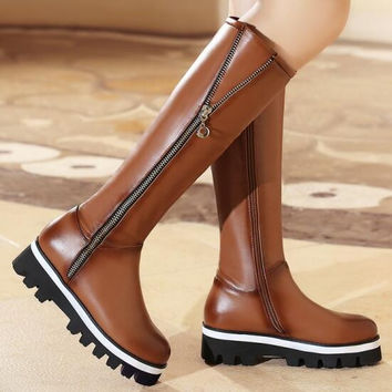 Women Autumn Winter Wedges Chunky Heel Round Toe Genuine Leather Side Zipper Fashion Knee High Boots Plus Size 34-43 SXQ1005