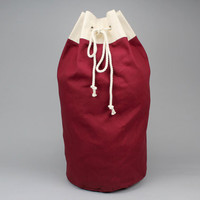 The Arnold Duffle // Burgundy Red Canvas Laundry or Duffle Bag with Rope Drawstring and Carrying Handle