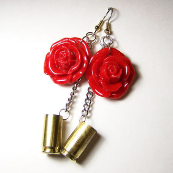 Country Western Jewelry,Cowgirl Earring,Rose Bullet Earring,Kitsch Earring,Bullet Jewelry Country Girl Jewelry,Hunter Earring,Ammo Jewelry