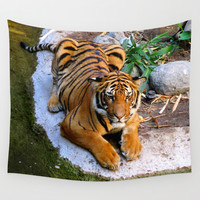 Pool Side Tiger Wall Tapestry by RichCaspian