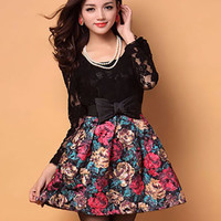 Black Floral Print Long Sleeve Lace Skater Dress