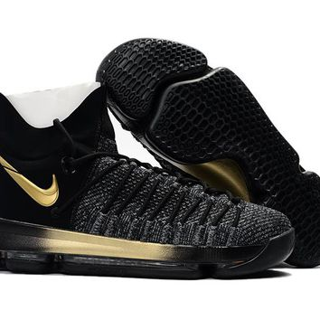 VAWA Nike Men's Durant Zoom KD 9 Flyknit Basketball Shoes Black Golden