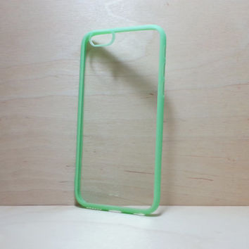 iPhone 6 (4.7 inches) Case Silicone Bumper and Clear Hard Plastic Back - Light Green
