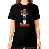 Taken by a bearded beast Unisex T-Shirt (on woman)