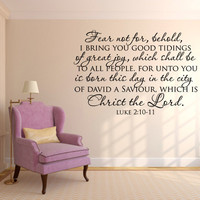 Scripture Wall Decal. Fear Not For, Behold - CODE 124