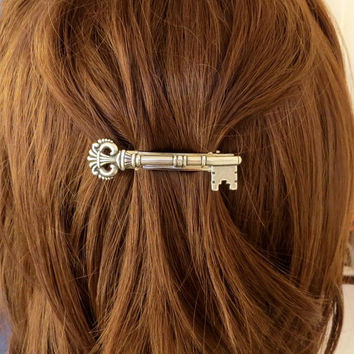 Steampunk Skeleton Key Barrette- Sterling Silver Skeleton Key French Barrette