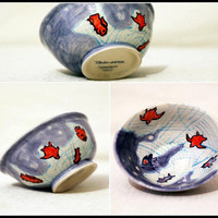 Ceramic Bowl With Fishes / Serving Bowl /Nut Bowl/ Nut Dish